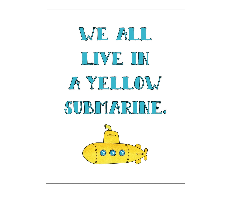yellow submarine printable art wall decor nursery art baby