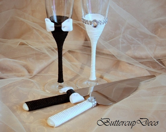 wedding cake serving set and flutes champagne glasses and cake serving set wedding by 24298