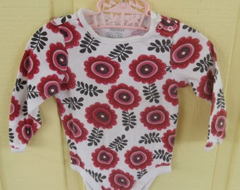Retro Floral Red Baby Onesie Size 12 to 18 Months