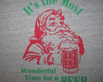 mens its the most wonderful time for a beer christmas t shirt funny xmas holiday ugly sweater party secret santa drinking novelty cool tee