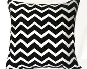 SALE: Black and White Chevron Throw Pillow, 14x14, Home and Dorm Decor - Pillow Insert Included