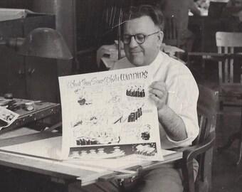 Cartoon Artist 1965 Iowa ~ Minnesota ?? Quimby, Walker, etc. Two original photographs