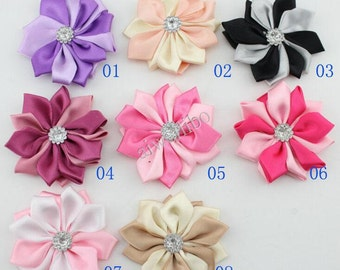 10 pcs 2.4 inch Mix Color Ribbons Flowers , Satin Ribbon Flower, Multilayers Flower For Hair Accessories