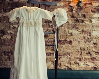 SALE SALE  Christening Gown, Vintage Style Lace Baptism Gown Dress +Bonnet