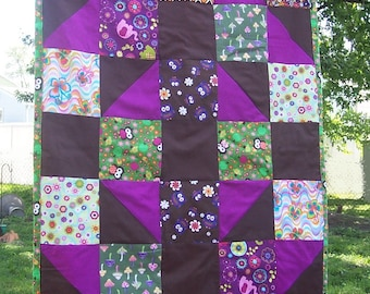 "Fairy Forest Owl Quilt for Baby - Groovy Fairy Forest Animal Owl Patchwork Quilt - Crib  33"" x 45 1/2"""
