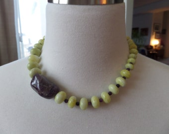 Lemon Jade, Chevron Amethyst and Chariot Necklace
