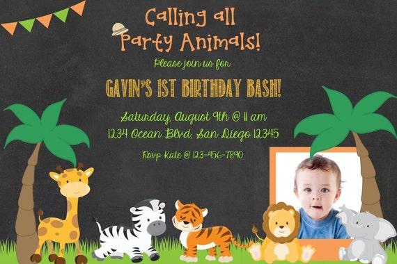 Jungle Theme Birthday Invitation 4x6 5x7 DIY invitation – Jungle Theme Birthday Invitations