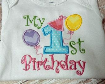 My First Birthday Applique T shirt Onesie Monogram