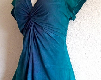 Teal and Indigo Purple, Ombre Dyed, Twisted Front Tee, with capped or 3/4 length sleeves
