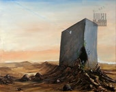 Painting on canvas, original acrylic artwork, landscape, surrealistic monument site, pastel skies over the plain, tomb on the desert