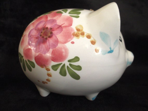 Vintage Ceramic Hand Painted Piggy Bank By By Musesvintage