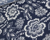 Navy Blue and White Floral Pattern - Fabric by the Yard 013
