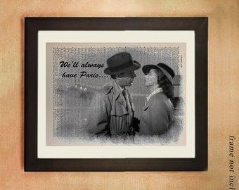 Casablanca Movie Dictionary Art Print, Humphrey Bogart Ingrid Bergman Paris Black White Upcycled Wall Art da347