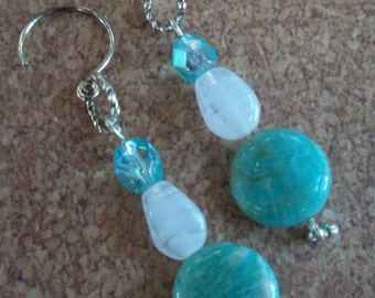Nadia - Turquoise and glass earrings