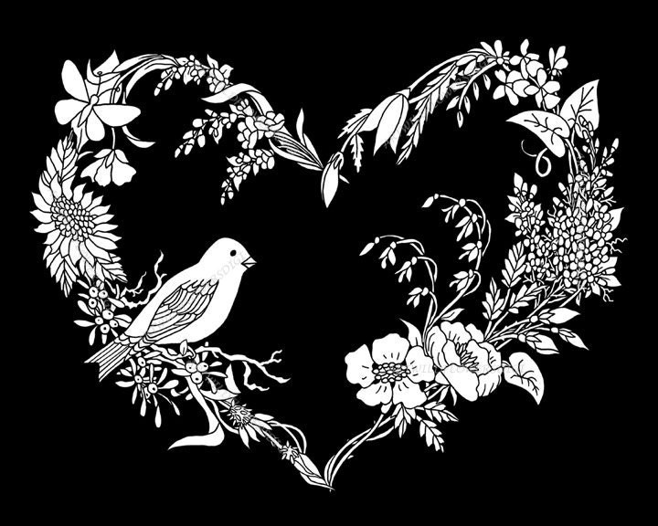 Adult Coloring Page SongBird Wildflower Heart Instant