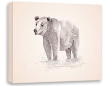 Watercolor Bear - Brown Bear Painting - Canvas Print - Canvas Wall Art - Watercolor Art - Watercolor Painting - Watercolor Animal