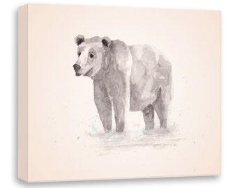 Watercolor Bear - Brown Bear Painting - Canvas Print - Canvas Wall Art - Watercolor Art - Watercolor Painting - Watercolor Animal - B04