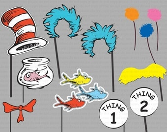 INSTANT DL- Dr seuss Thing 1 Thing 2 Photo Booth Props- Dr Suess Party Package - Printable set