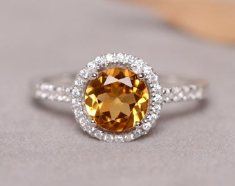 Natural Citrine Ring For Women, Real Natural Stone & Sterling Silver Ring