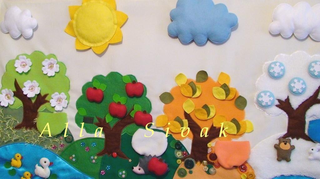 Montessori Classroom Wall Decoration : Play mat on seasons montessori toy tree handmade by