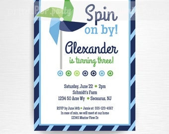 Blue Green Pinwheel Birthday Party Printable Invitation YOU Print