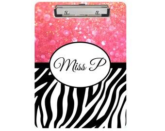 Monogram Clipboard, Dry Erase Board, Zebra, Custom Clipboard, Boutique Clipboard, Personalized Clipboard, Teacher Gift, Glitter Clipboard
