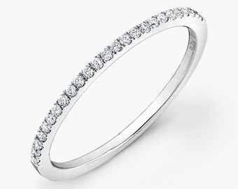 Gold Wedding Ring / Micro Pave Half Eternity Rİng  / Wedding Half Eternity Matching Band Ring / Mother's Day Gift / Wedding Band