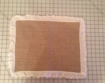 "Burlap Placemat18x15"" with eyelet trim"