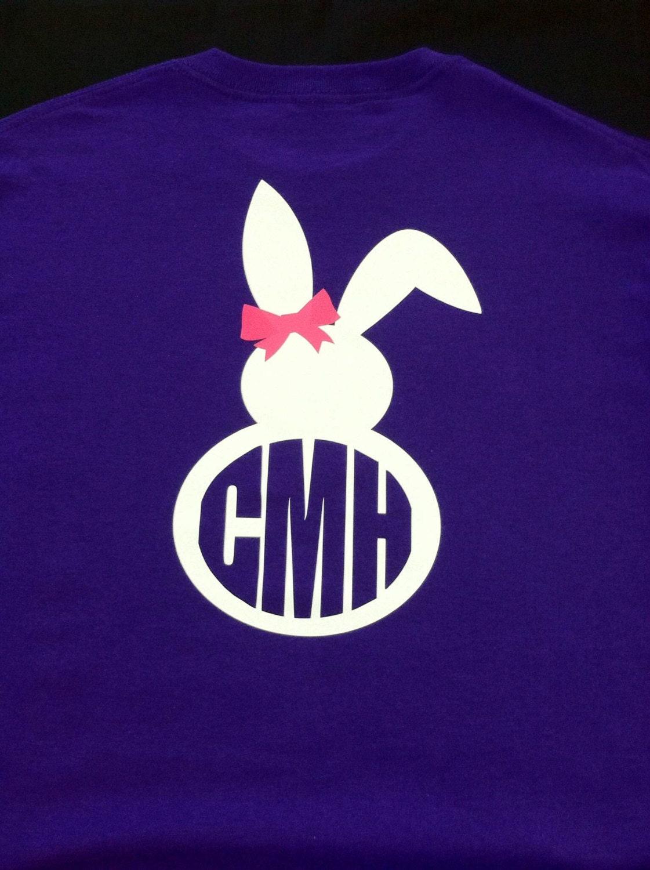 Short Sleeve T Shirt With Bunny Rabbit Monogram