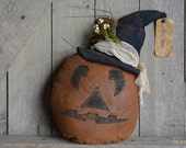 Primitive Grungy Halloween Pumpkin Make-Do Decor - Fall Decor- Shelf Sitter