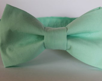 Mint bow tie, baby, boy, adjustable velcro closure