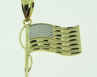 14 k gold American Flag pendant / charm.