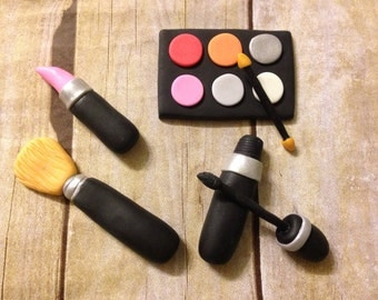 7 or 6 pcs Edible Fondant Makeup Set Cake Toppers