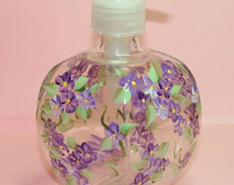 Hand Painted Pump Bottle -Purple Forget-Me-Nots - Personalized and Custom Lotion Dispensers for Birthday, Wedding, Party, Special Occasions