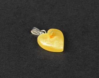 Natural Baltic Amber Butterscotch Color Pendant Heart