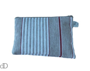 REDUCED Red Stripe Oilcloth Make Up Bag - Cosmetic Bag - Makeup Purse - Zip Fastening - Waterproof Lining - Mother's Day Present