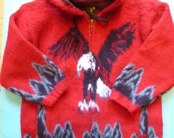 Vintage Children's Cardigan Sweater  Wool Hoodie Jacket With Eagle Made in Ecuador Size 8