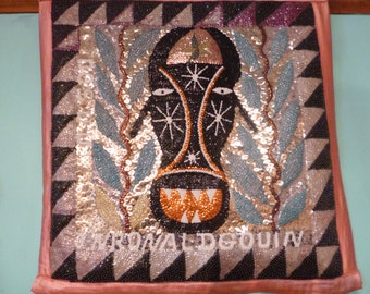 Haitian Voodoo Flag Vintage Sequin Wallhanging of Bossou The Three Horned Bull