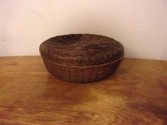 Brown basket lidded basket storage basket woven basket tribal - Round wicker hamper with lid ...