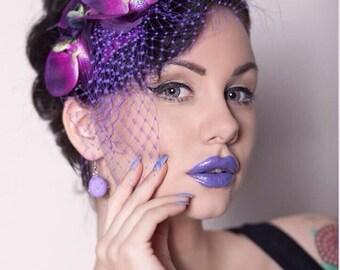 Rock Rockabilly Purple Orchid Pin Up Bridal  hair flower fascinator
