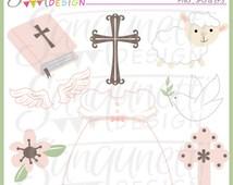 Girls Baptism Clipart, Christian Clipart, Church Clipart, Angel Clipart,Christening Gown Clipart, Cross Clipart, Baptism Graphics
