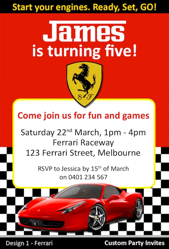 Ferrari / Racing Car Birthday Invites / by CustomPartyInvite