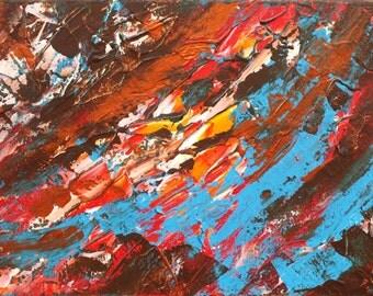 Original Abstract Painting Modern Art Upheaval Dark Landscape James Lucas