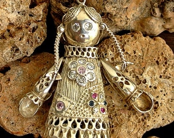 Articulated Sterling Raggedy Anne Pendant