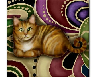 ORANGE TABBY CAT Art Ceramic Tile Coaster optional frame