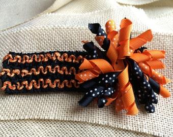 Black and Orange Striped Crochet Headband Stretchy Headband with Orange and Black Korker Bow Hair Clip