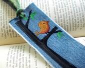Orange Bird Bookmark, Pick the Color Bookworm Gift, Bird in Tree Art, UpCycled Denim Bookmark, Books, Gift for Her, Reading Challenge Reward