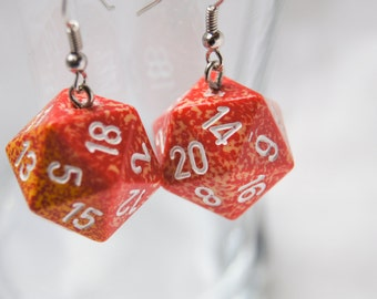 Red and Yellow Speckled Red D20 Earrings