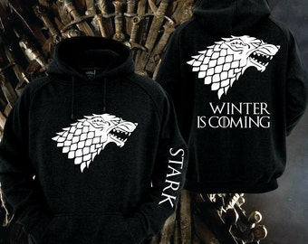 Game of Thrones House of Stark Black Hoodie w white lettering on front back and sleeve