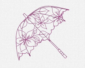 Flower Umbrella Redwork Embroidery Machine Pattern Design Download 4x4 5x7 Modern